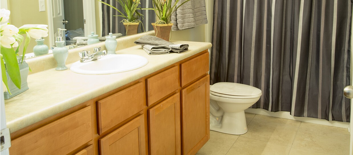 Bay Breeze Apartments bathroom with ceramic tile floor