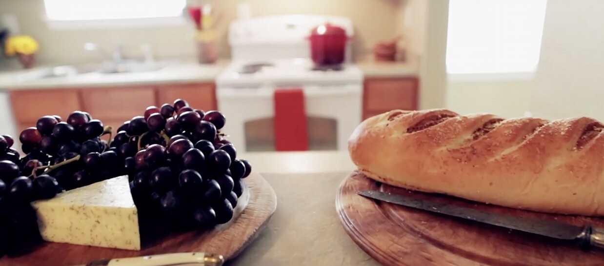 Furnished Kitchen Grapes, Cheese and Bread
